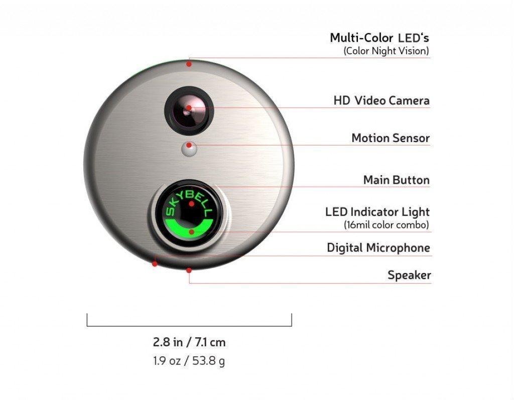 Skybell Hd Wifi Doorbell Camera Alarmcom 1080p Color Night Vision Mains Trigger Musical Door Bell Circuit Silver Electronics