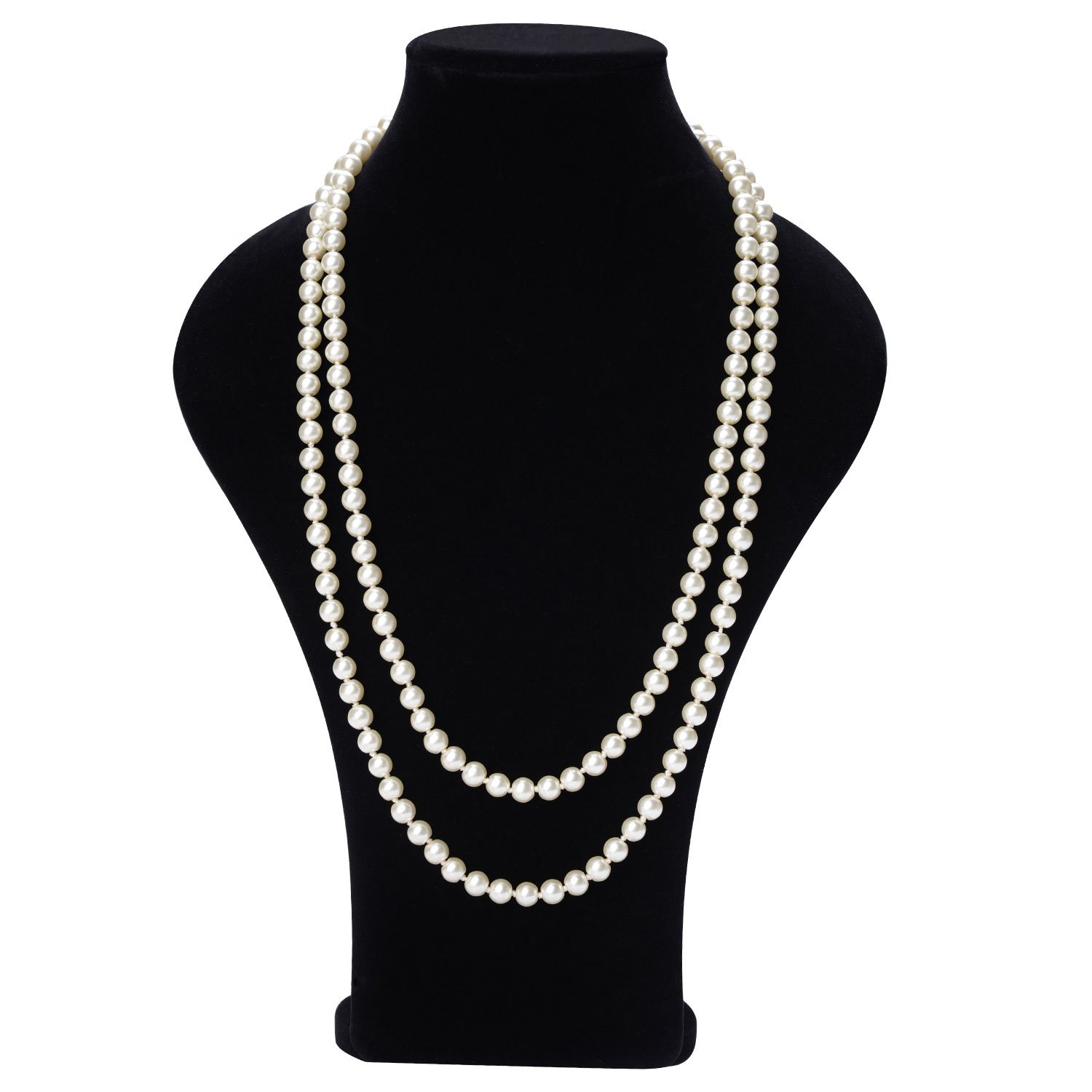 TAGOO Simulated Pearl Chunky Collar Necklace 17.5'' 18'' 55'' Single Double Triple Multi Strands for Womens&Girls (55'' Long Single Strand 8mm Pearl)