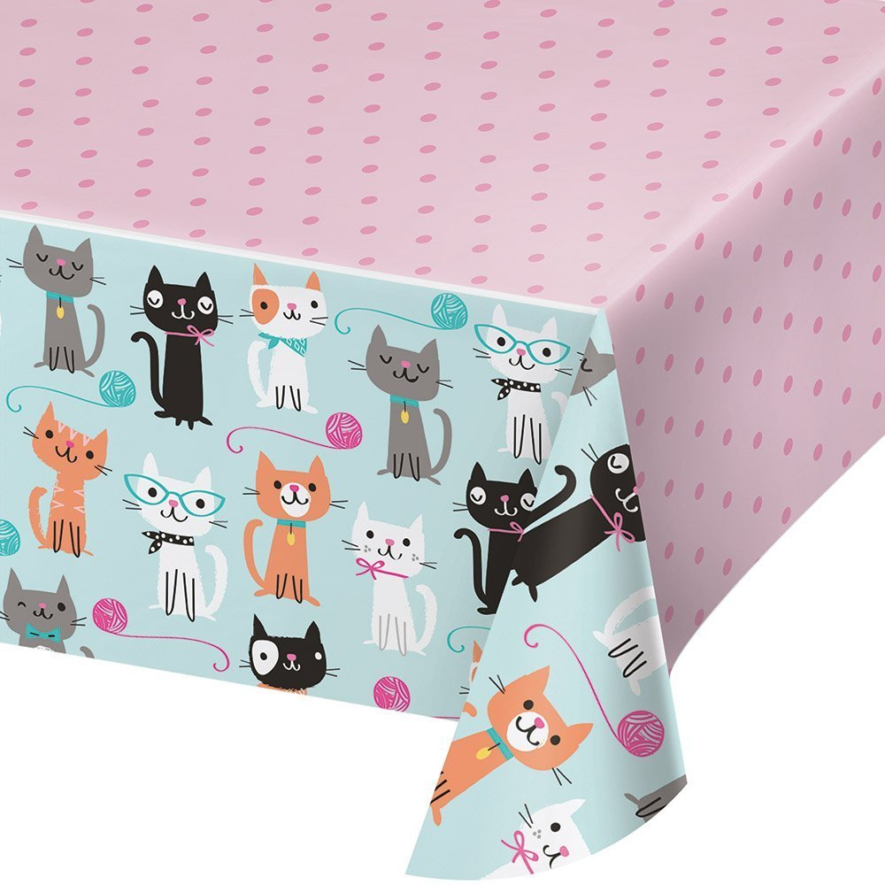 Creative Converting 329399 All Over Print Plastic Tablecover, Purr-Fect Party (2 Pack)