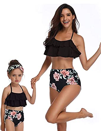 8c0035c2ff8 Amazon.com: Mommy and Me Swimsuits High Waisted Family Matching Swimwear  Ruffle Two Piece Bathing Suits: Clothing