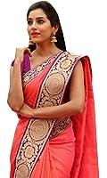 Calendar Women's Chanderi Cotton Saree With Blouse Piece (Cs1382_N_Pink)