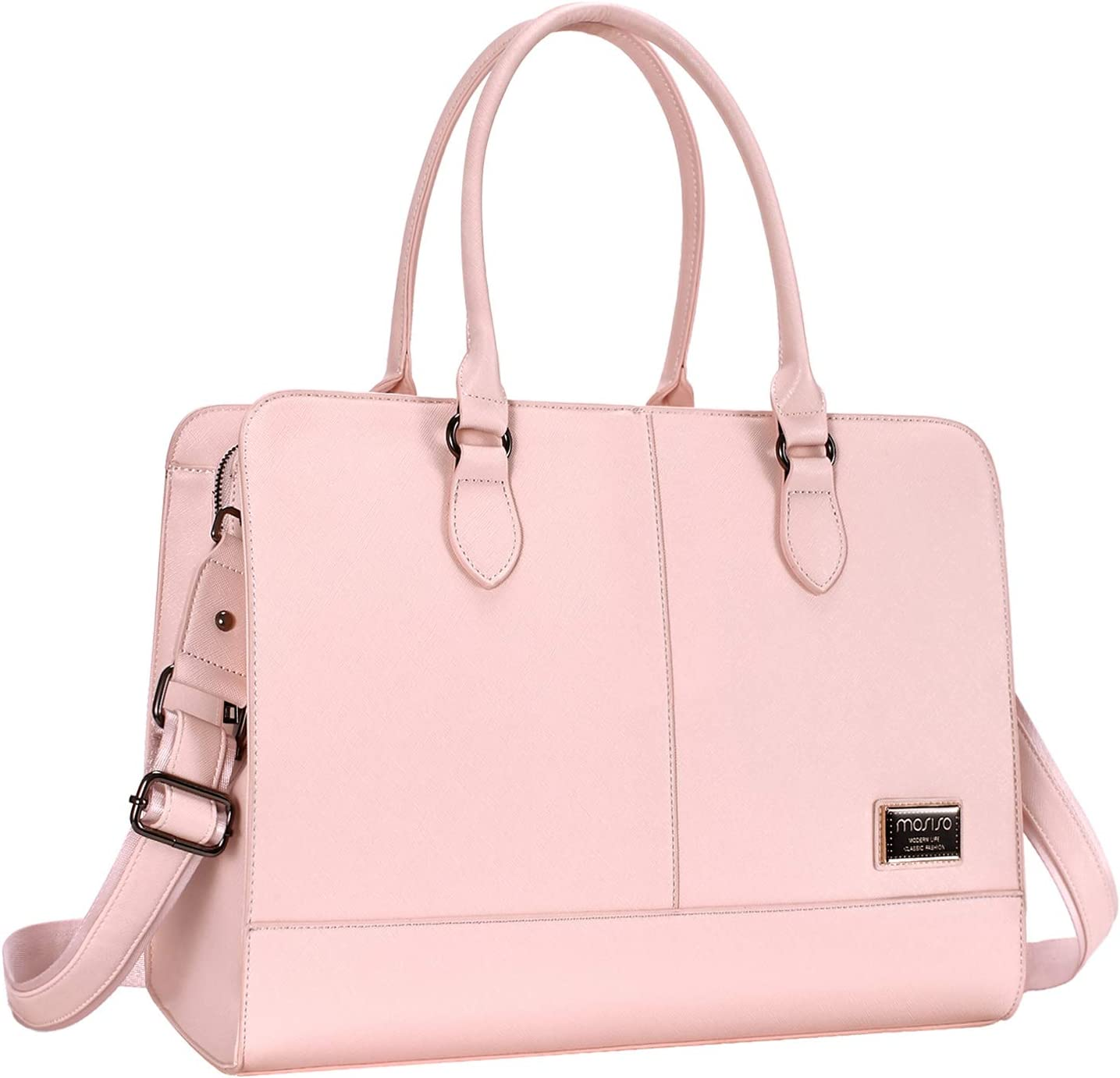 Light Blue Marble Women Shoulder Bag Lightweight Multi-Pocket Business Work Office Briefcase