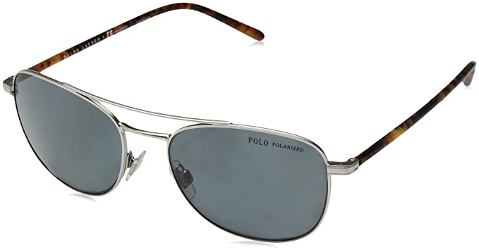 POLO RALPH LAUREN 0PH3107 Gafas de sol, Aged Silver, 55 para ...