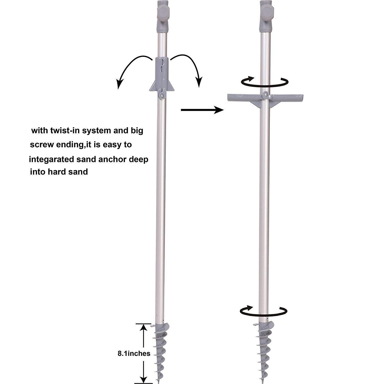 AMMSUN 7 ft Sand Anchor Beach Umbrella Adjustable Height with air Vent Zinc Tilt UPF 50 Silver Coating Inside and Telescoping Pole