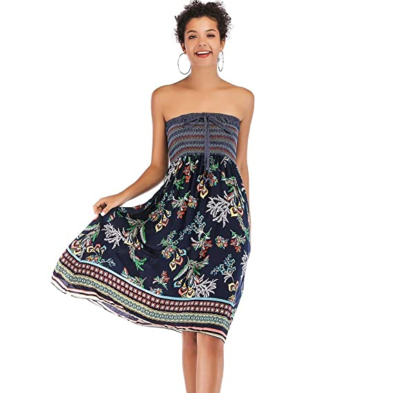 ace6b04aaad0 Tube Dress Women Wear Both Strapless Dresses Boho Floral Printed Casual  Summer Sundress at Amazon Women's Clothing store: