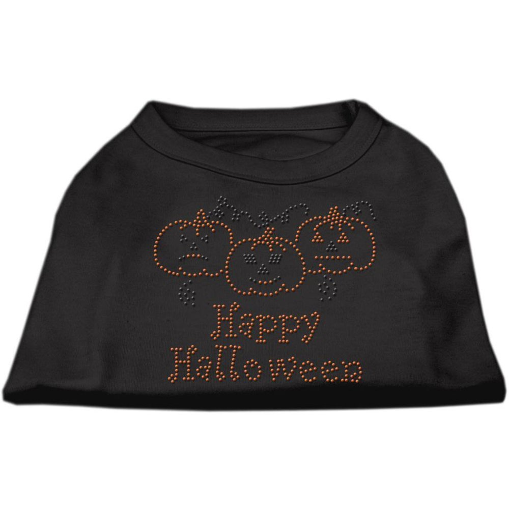 Mirage Pet Products 12Inch Happy Halloween Rhinestone Print Shirt for Pets, Medium, Black