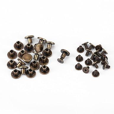 20 piezas de cobre amarillo de cabeza plana Tornillos remaches Remaches de cabeza plana nueces accesorio tapa de cuero clavos # 1