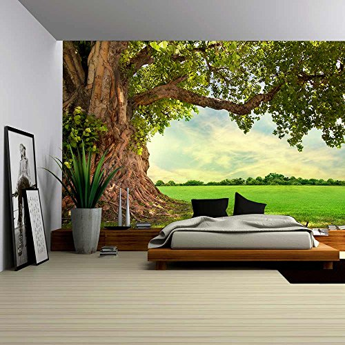 wall26-spring-meadow-with-big-tree-with-fresh-green-leaves-removable-wall-mural-self-adhesive-large-