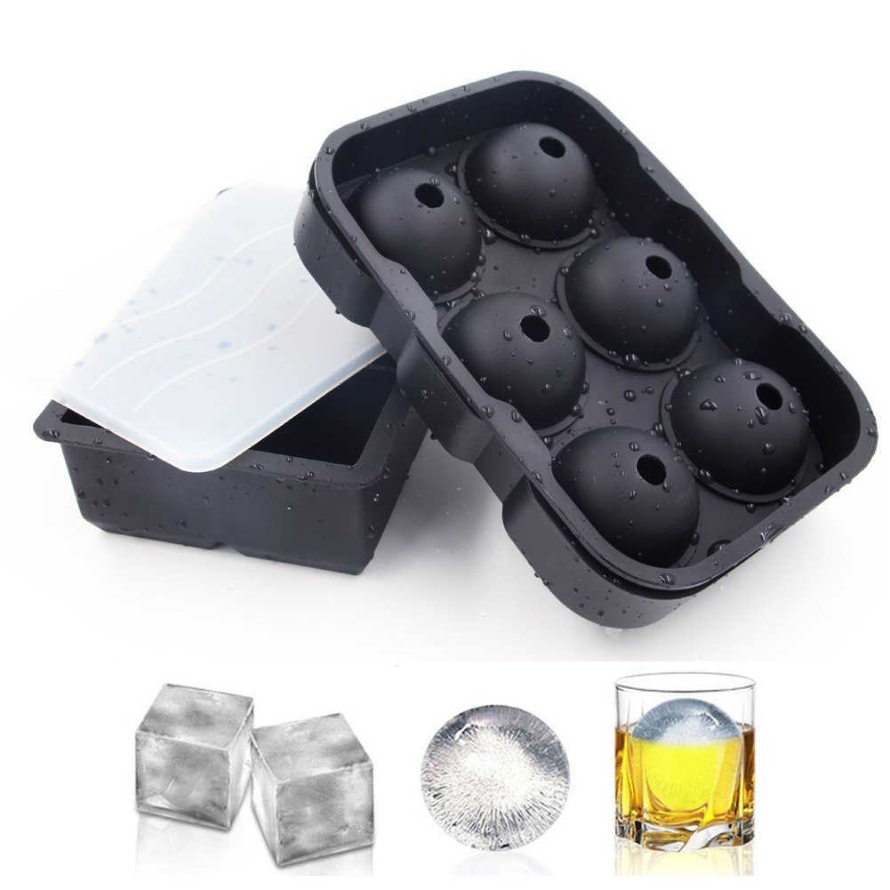 Silicone Ice Cube Trays Molds, Set of 2 Ice Ball Maker & Large Square Ice Cube Molds, Black