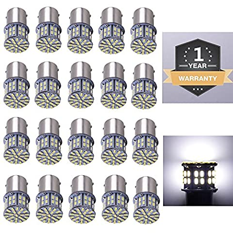 Cargo LED 20 Pcs Extremely Super Bright 1156 1141 1003 1073 BA15S 7506 LED Replacement Light Bulbs,50X3014SMD 6000K Xenon (1156 Led Bulb Replacement)