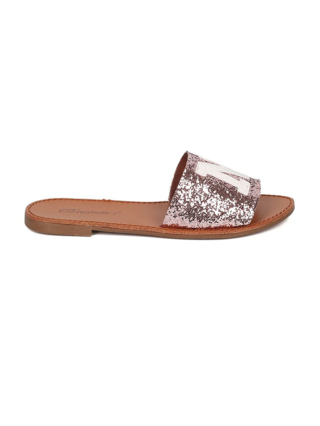 Breckelles Women Glitter Leatherette Open Toe NY Slide HA20