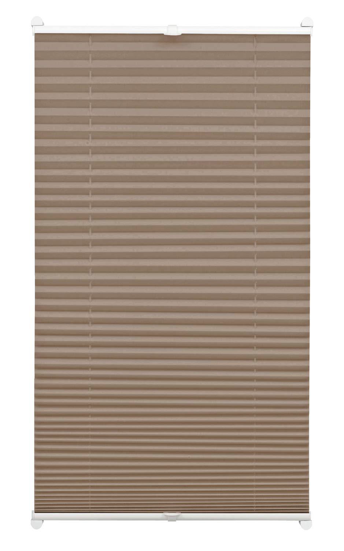 Gardinia 33403 Tenda Plissettata con Morsetto di Fissaggio, Tessuto, Taupe, 40 x 130 cm