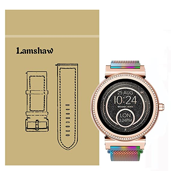 Lamshaw Quick Release Smartwatch Band for MK Access Sofie, Milanese Metal Stainless Steel Mesh Replacement Strap for MK Access Smartwatch Sofie Gen 2 ...
