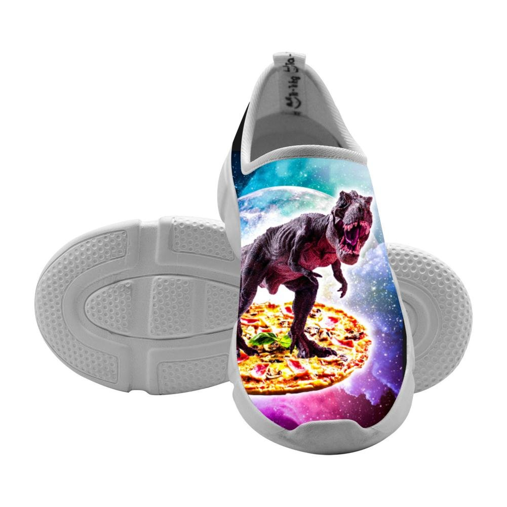 Tyrannosaurus Rex Dinosaur Riding Pizza In Space Comfortable Sports Shoes Running Sneakers Canvas for Kids