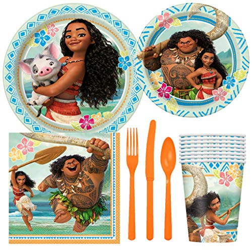 Disney Moana Birthday Party Supplies Pack Including Cake & Lunch Plates, Cutlery, Cups, Napkins (8 Guests)