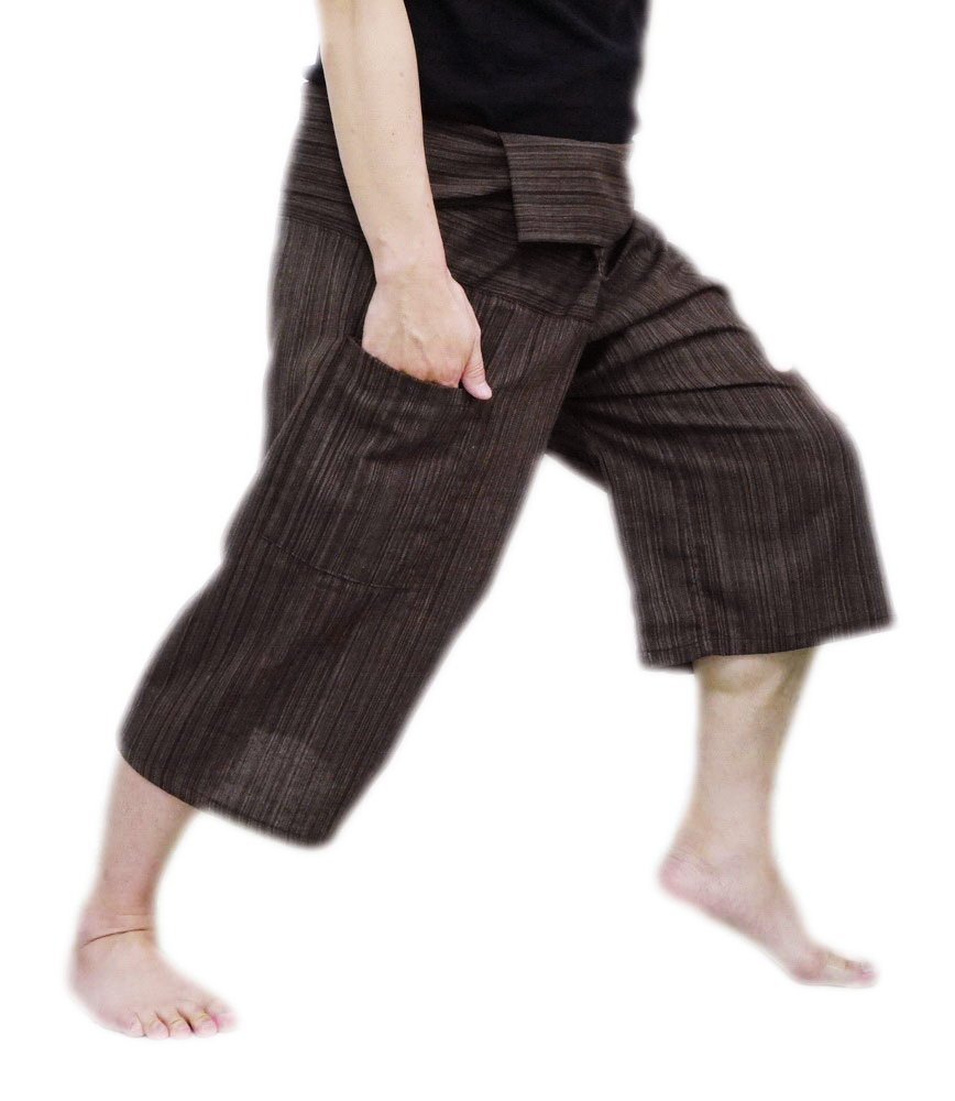 Thai Fisherman Pants Yoga Trousers Free Size 3/4 Cotton Stripe-Brown SIAM THAILAND