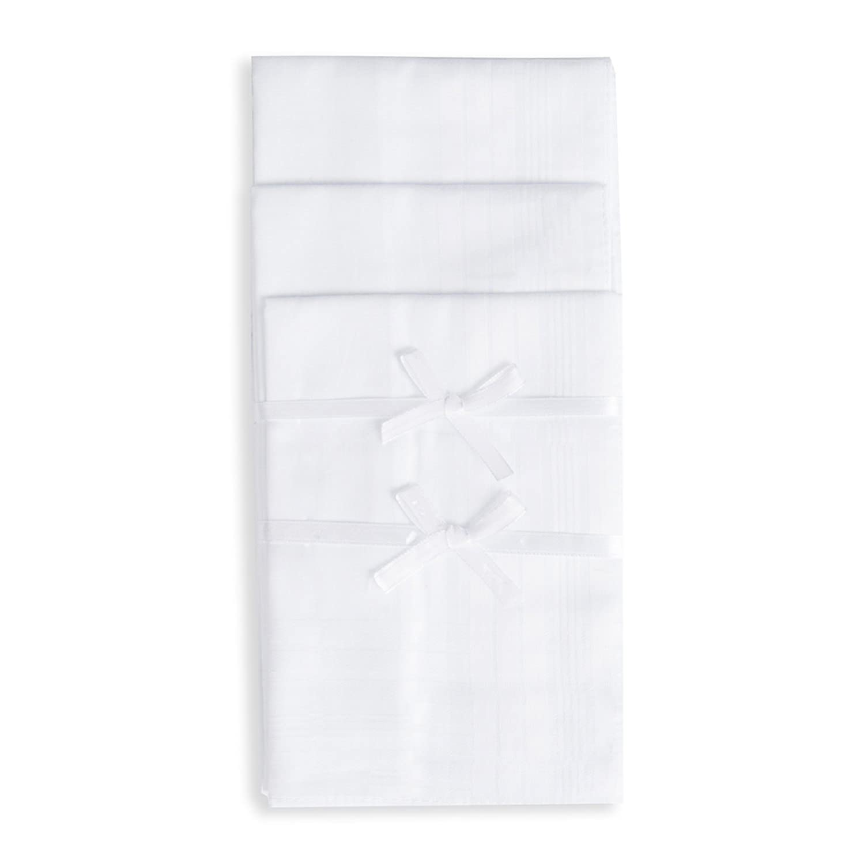 Selected Hanky Pure Cotton Men's Handkerchiefs/Hankies with Hem White HKYM002WH12P