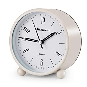 Alarm Clock.Mensent 4 inch Round Silent Analog Alarm Clock Non Ticking,with Night Light, Battery Powered Super Silent Alarm Clock, Simple Design Beside/Desk Alarm Clock (White)