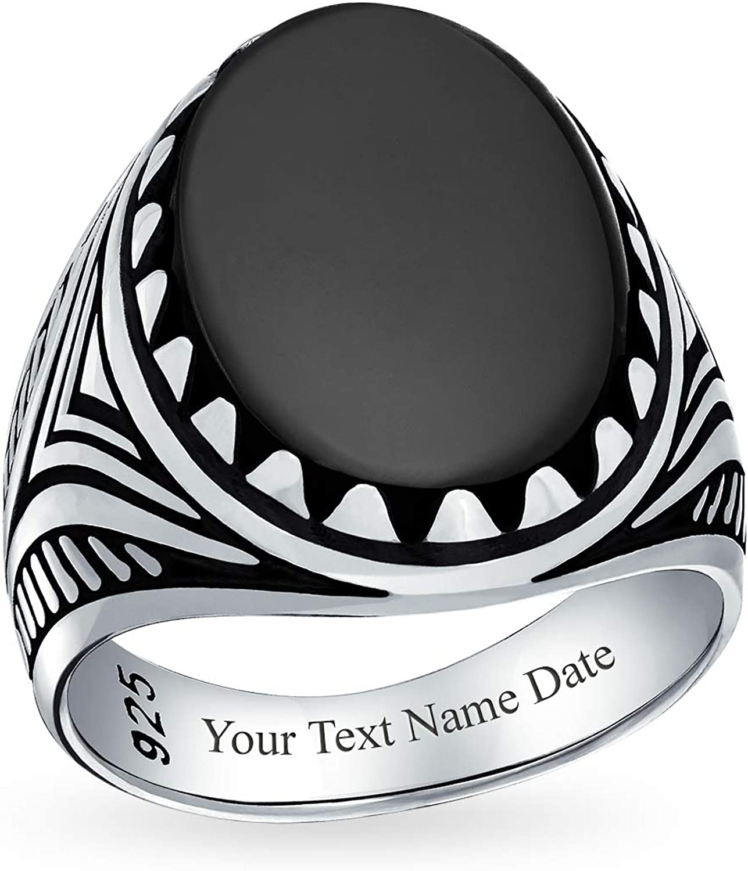 Personalizado hombres signet grande negro ónix ovalón cabujón piedra preciosa anillo de la garra para los hombres adolescentes 925 plata personalizado grabado