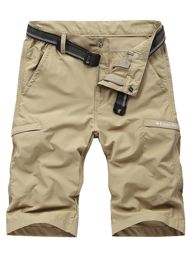 OCHENTA Men's Outdoor Expandable Waist Lightweight Quick Dry Shorts Khaki XL - US 32 New