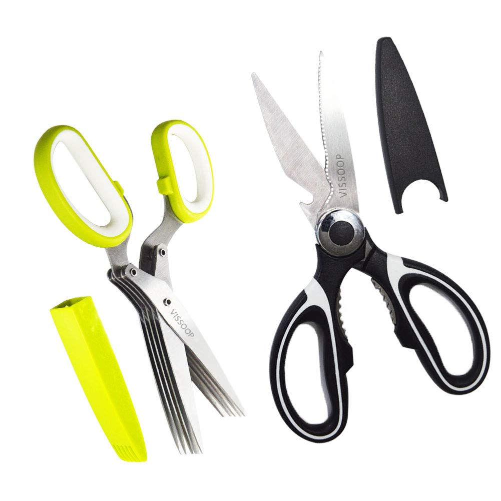 Kitchen Shears and Herb Scissors Set, Heavy Duty Stainless Steel Kitchen Extremely Sharp Shears Dishwasher Safe Multi-purpose Herb Scissors 5 Blades Cover for Poultry, Fish, Meat, Herbs, BBQ, and More
