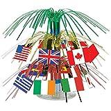 Beistle 57372 International Flag Miniature Cascade Centerpiece, 71/2-Inch (2-Pack)