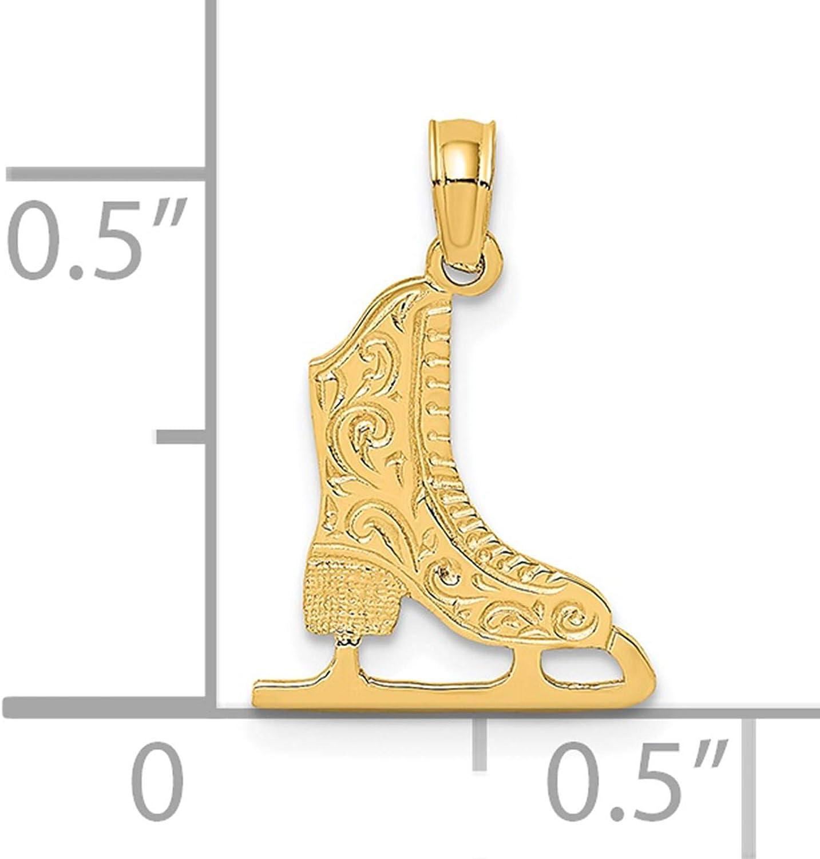 14K Yellow Gold Ice Skate Charm Pendant