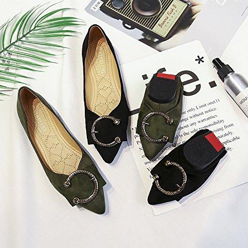 Meeshine Femmes Classique Pointu Toe Ballerines Slip On Daim Chaussures Plates Noir