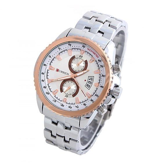 Regalo Curren Beauty M8082 Fashion Full para hombre relojes de acero Diseño trasero de macho nuevo reloj infantil de cuarzo de reloj Casual 2015: Amazon.es: ...