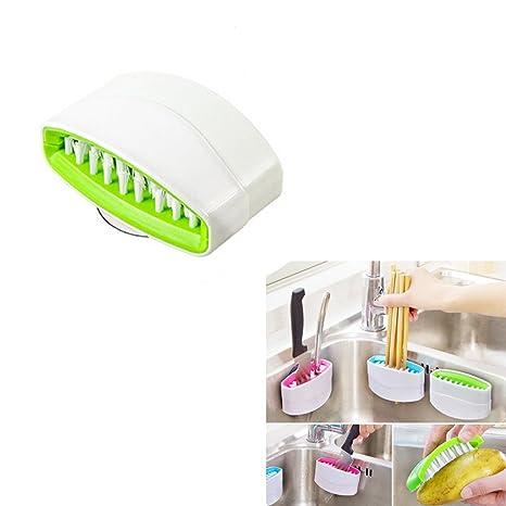 Vivian cubertería cepillo limpiador con ventosa fregadero estropajo para cubertería rápido lavado, Verde