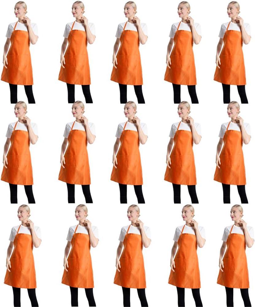 "TSD STORY Orange Color Plain Bib Aprons Bulk for Women Men Adult-Unisex Aprons with 2 Front Pockets,Size 24""X28""Kitchen Cooking Server Painting Aprons(Orange-15PCS)"
