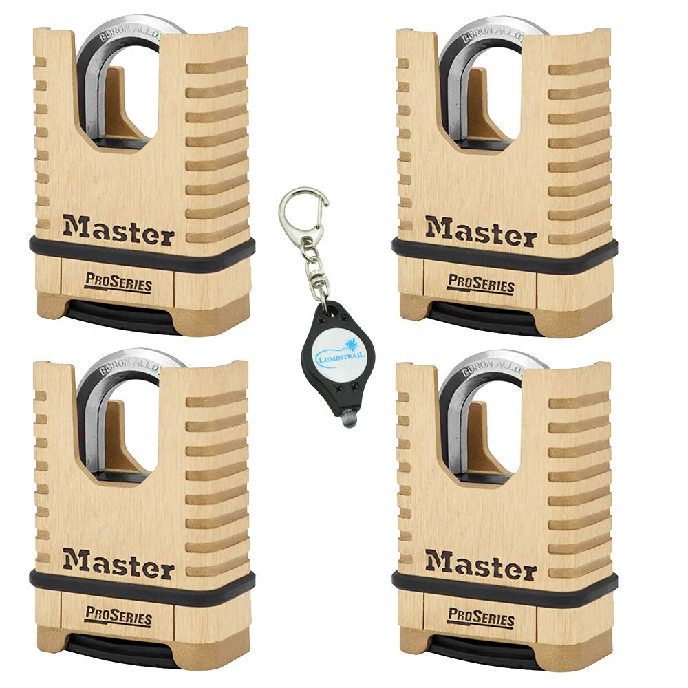 Master Lock 1177D 2-1/4in (57mm) Wide ProSeries Shrouded Brass Resettable Combination Padlock, 4 Pack Bundle w/Lumintrail Key Chain Light by Master Lock