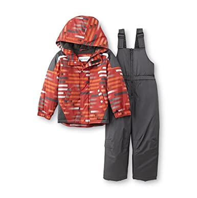 e9c011fbf Toddler Boys Toughskins Striped Snowsuit -- Jacket/Coat & Snow Bibs (12  Months