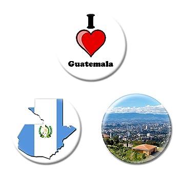 Juego de 3 I Love Guatemala imanes de nevera - Elección de tamaños, Printed Design