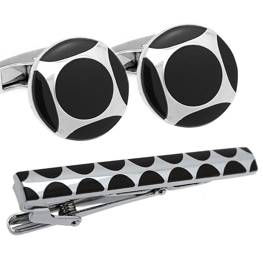 Black and Silver Round Cufflinks and Tie Clip Set