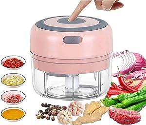 Mini Food Chopper Electric Small Food Processor Portable Fruit Blender Mixer Chops Vegetables, Nuts & Onion Meat Mincer Grinder Salad Grinder (Pink)