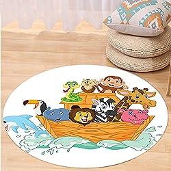 VROSELV Custom carpetNoahs Ark Decor Fun Animals in Noahs Ark Floating Myth Creatures Grace Nature Theme Illustration Art Bedroom Living Room Dorm Decor Multi Round 47 inches