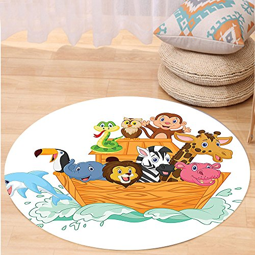 VROSELV Custom carpetNoahs Ark Decor Fun Animals in Noahs Ark Floating Myth Creatures Grace Nature Theme Illustration Art Bedroom Living Room Dorm Decor Multi Round 72 inches by VROSELV
