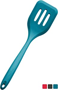 "StarPack Premium XL Silicone Turner Spatula/Slotted Spatula (13.5""), High Heat Resistant to 600°F, Hygienic One Piece Design, Non Stick Kitchen Utensil for Fish, Eggs, Pancakes, Wok (Teal Blue)"