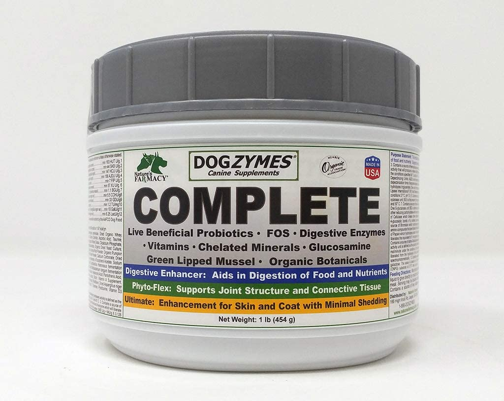 Dogzymes Complete - Probiotics, Prebiotics, Glucosamine, Chondroitin, MSM and Hyaluronic Acid, Complete Skin and Coat Care