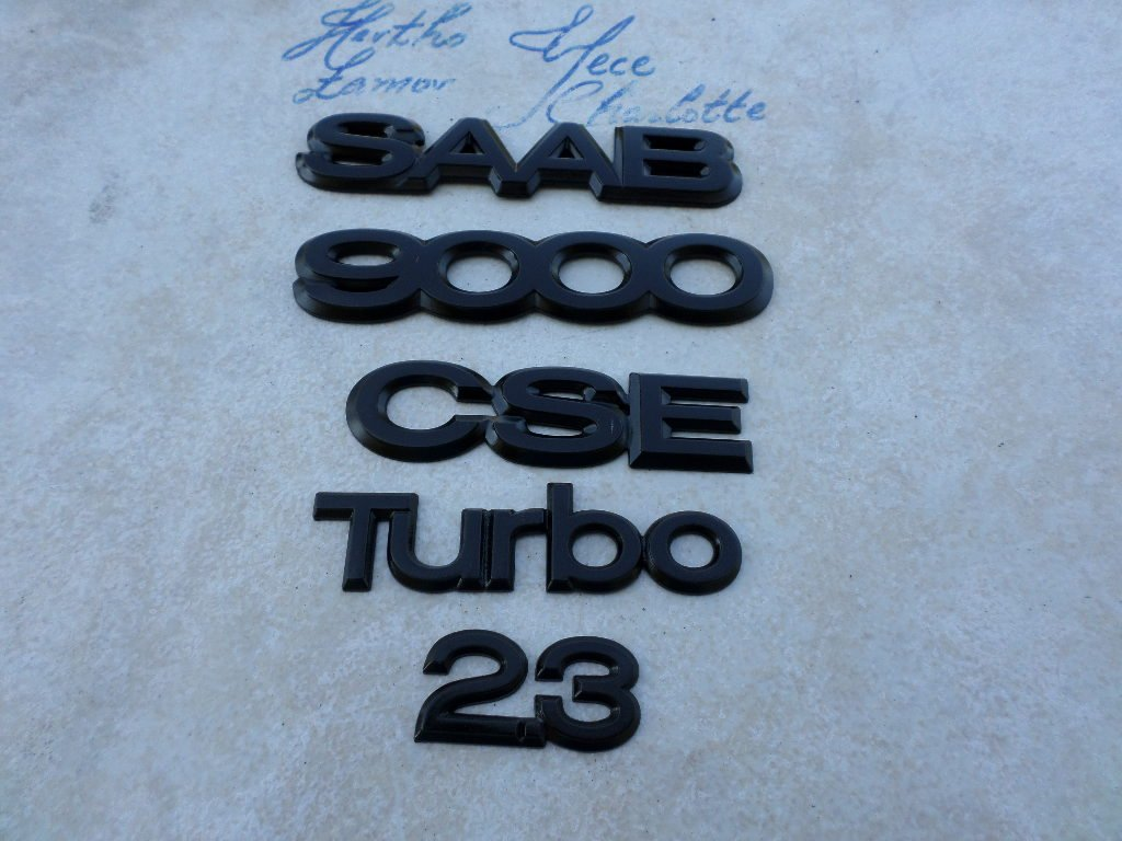 Amazon.com: 95-97 Saab 9000 CSE 2.3 Turbo Rear Trunk Black Logo 4435947 Emblem 4435749 Badge 4676797 Set of 5 Decals: Automotive