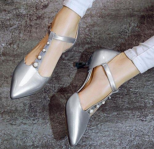 Verano zapatos de tacón alto de las sandalias de Baotou fina con perlas plata