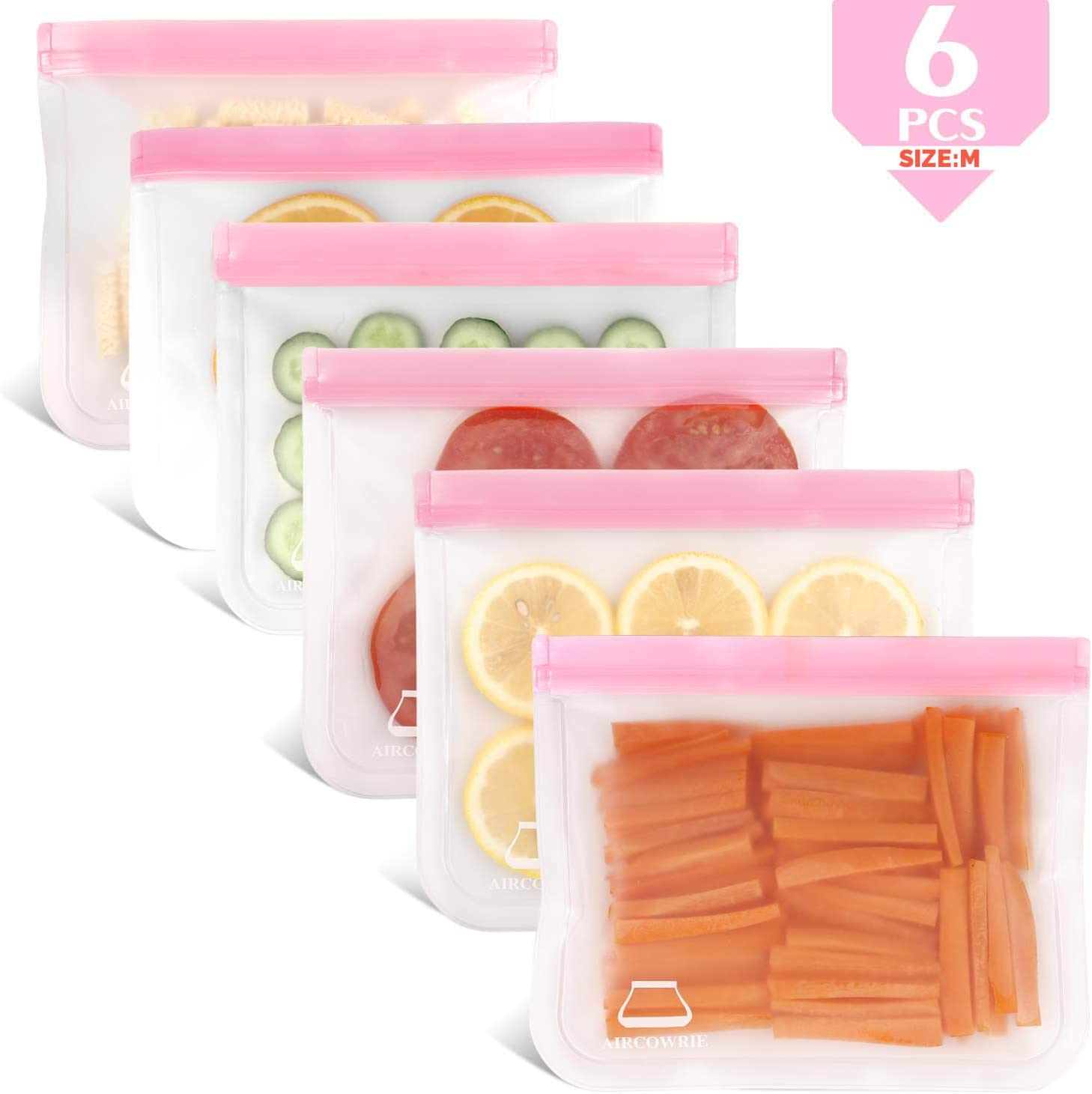 AIRCOWRIE Reusable Storage Bags - 6 Pack Reusable Sandwich Bags Leakproof PEVA Freezer Bags Thick Ziplock Lunch Bags for Food Snack Meat Fruit (Pink)