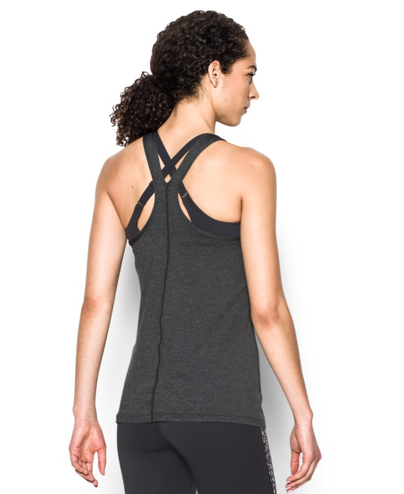 Under Armour Women's HeatGear Armour Racer Tank Top, Carbon Heather /Metallic Silver, Small by Under Armour (Image #2)