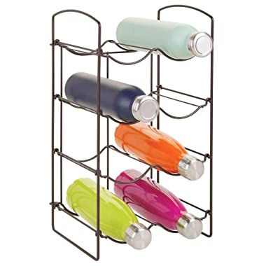 mDesign Metal Free-Standing Water Sports Bottle and Wine Rack Holder Stand for Storage Organizing in Kitchen Cabinet Countertops, Pantry - Collapsible - 4 Tiers, Holds 8 Bottles - Bronze