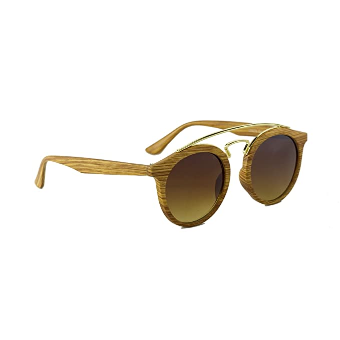 Occhiali Da Sole Marca Isurf Twin Rod Wood Gatsby I Ray Rotondi Fashion Ban Effetto Legno Rb4256 (marrone) nx6yd