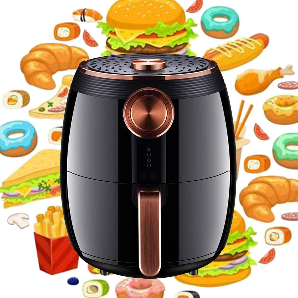 Air Fryer 4.5L, 1400-Watt Electric Hot Air Fryers, Oven Oil Free Nonstick Cooker with 0-30 minutes time setting and 80-200°C temperature adjustment function for home kitchen Black