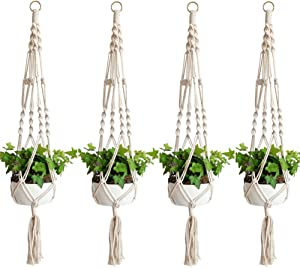 Accmor Elegant Plant Hanger Set of 4, 4 Legs 39 Inch Pure Macrame Handmade Cotton Rope Balcony Patio Deck Ceiling Plant Holder for Round & Square Pots, Bohemian Style& Unmatched Finesse