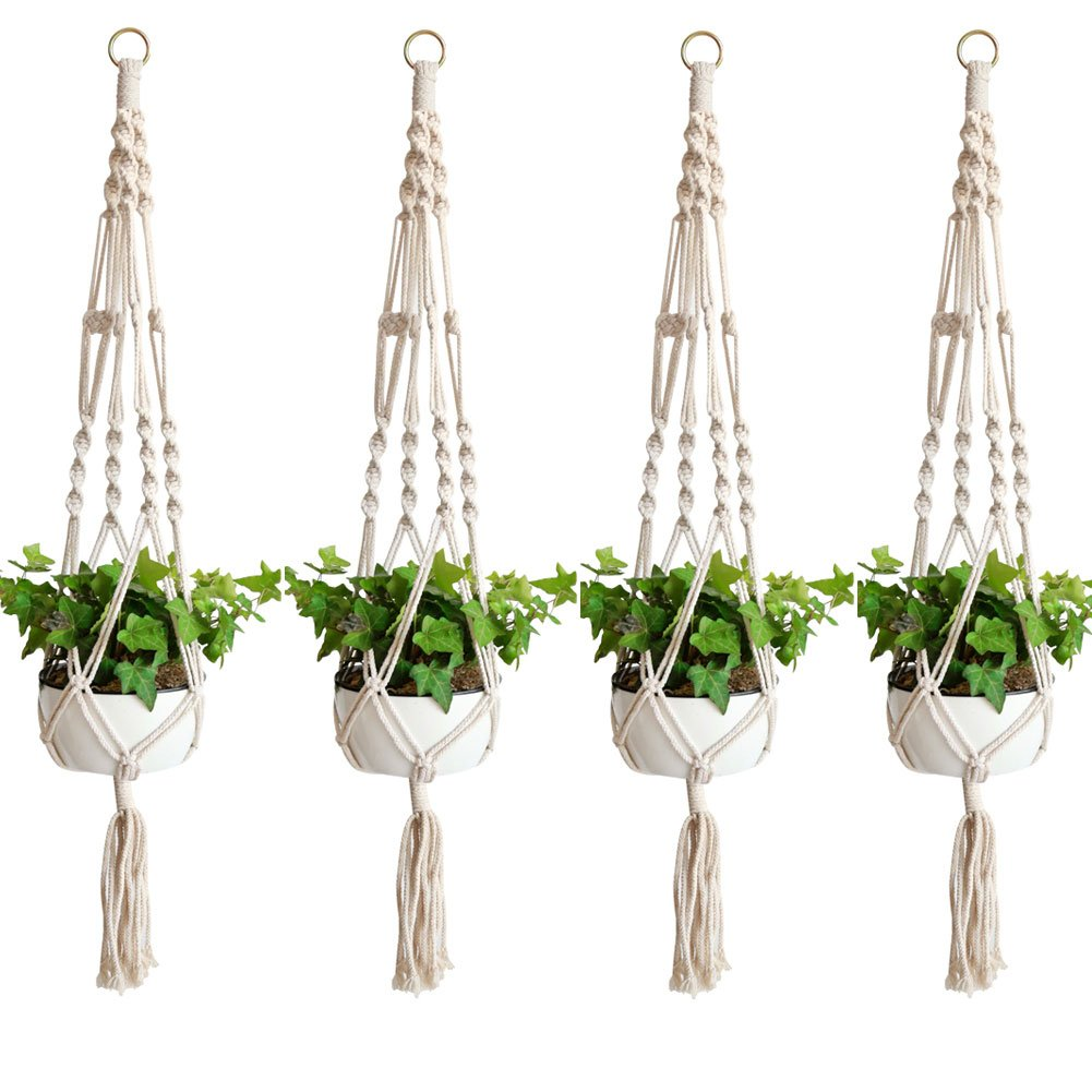 Accmor Elegant Plant Hanger Set of 4, 4 Legs 39 Inch Pure Macrame Handmade Cotton Rope Balcony Patio Deck Ceiling Plant Holder for Round & Square Pots, Bohemian Style& Unmatched Finesse by accmor