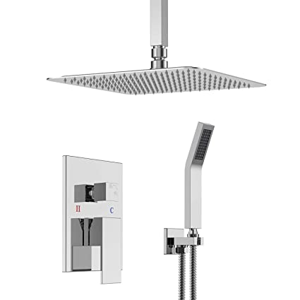 How To Install A Rain Shower Head In The Ceiling.Srss C1003 Flush Mounted Shower System Shower Set With Ceiling Installation Rain Shower Head Polished Chrome